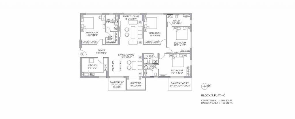 4 bhk duplex house plans: unit plan o f1714 SQFT