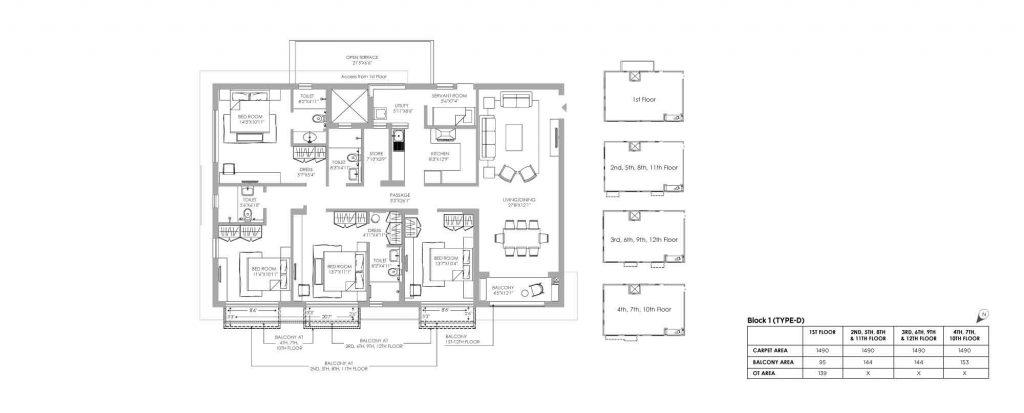 4 bhk duplex house plans: unit plan of D-1490 SQ FT