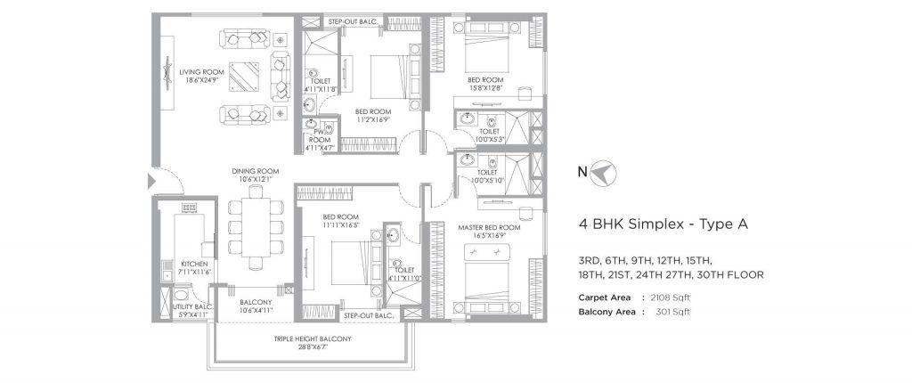 4 bhk duplex house plans: unit plan of 2409 SQFT