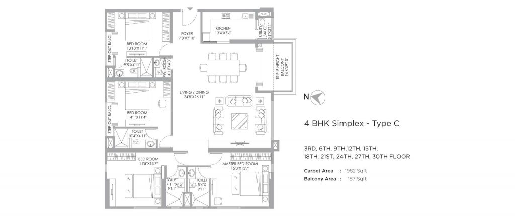 4 bhk duplex house plans: unit plan of 2169 SQFT
