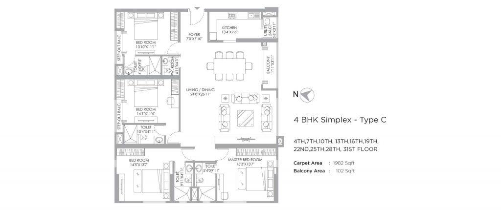 4 bhk duplex house plans: unit plan of 2084 SQ FT
