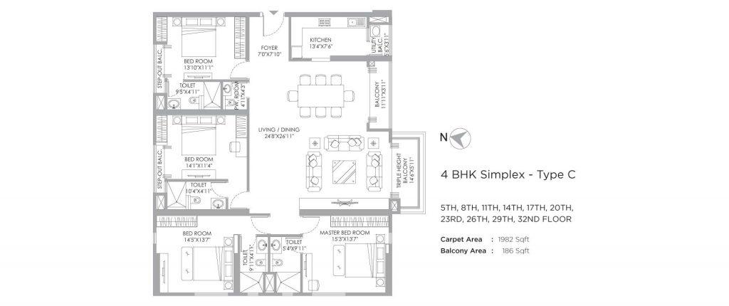 4 bhk duplex house plans: unit plan of 2168 SQ FT