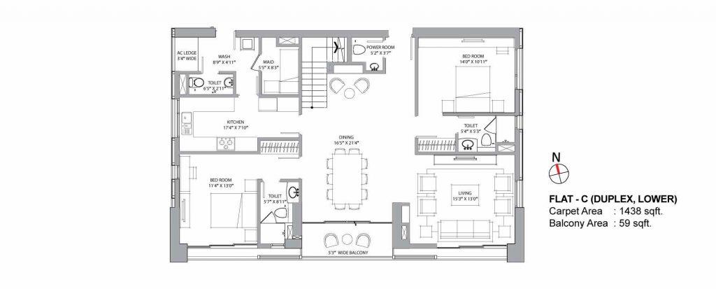 4 bhk duplex house plans: UNIT C LOWER 1438 SQFT