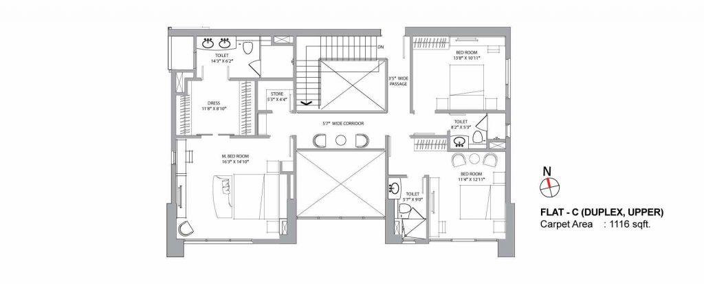 4 bhk duplex house plans:  UNIT C UPPER 1116 SQFT