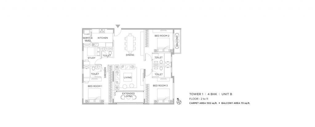 4 bhk duplex house plans: unit plan of 1512 SQFT