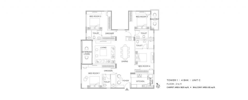 4 bhk duplex house plans:  unit plan of 1825 SQ FT