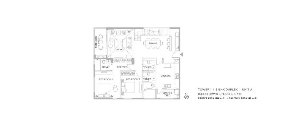 4 bhk duplex house plans: unit plan of LOWER 1314 SQFT