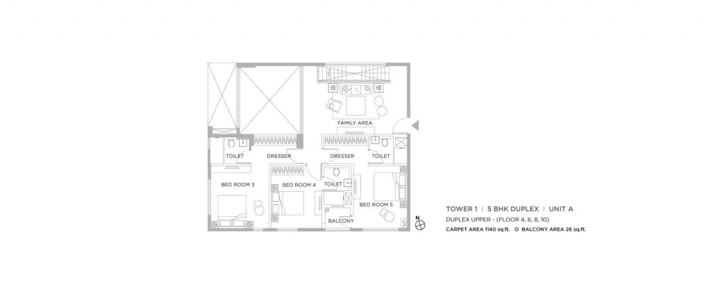 4 bhk duplex house plans: unit plan of UPPER 1140 SQFT