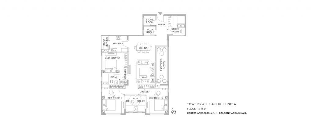 4 bhk duplex house plans: unit plan of1631 SQFT