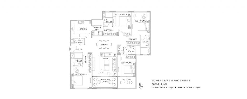 4 bhk duplex house plans: unit plan of1821 SQ FT