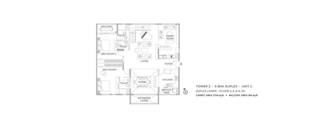 4 bhk duplex house plans: UNIT C LOWER 1734 SQFT