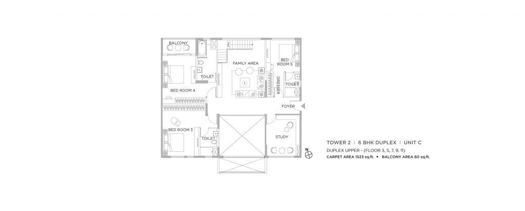 4 bhk duplex house plans: UNIT C UPPER 1523 SQFT