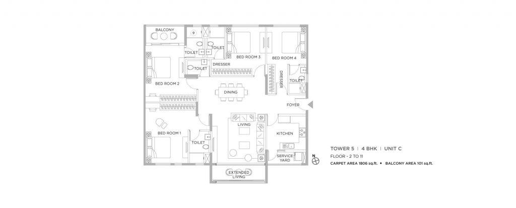 4 bhk duplex house plans: unit plan of 1806 SQFT