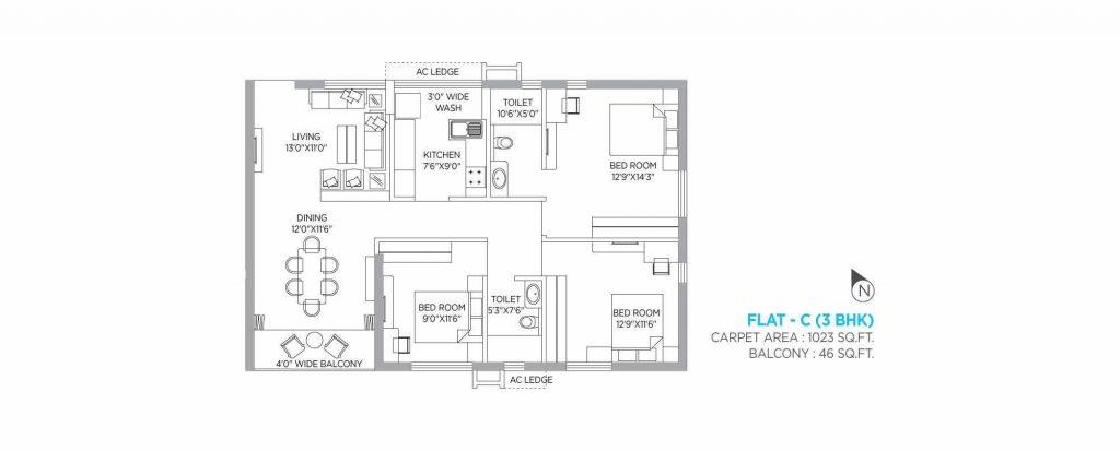 3 bhk apartment plan