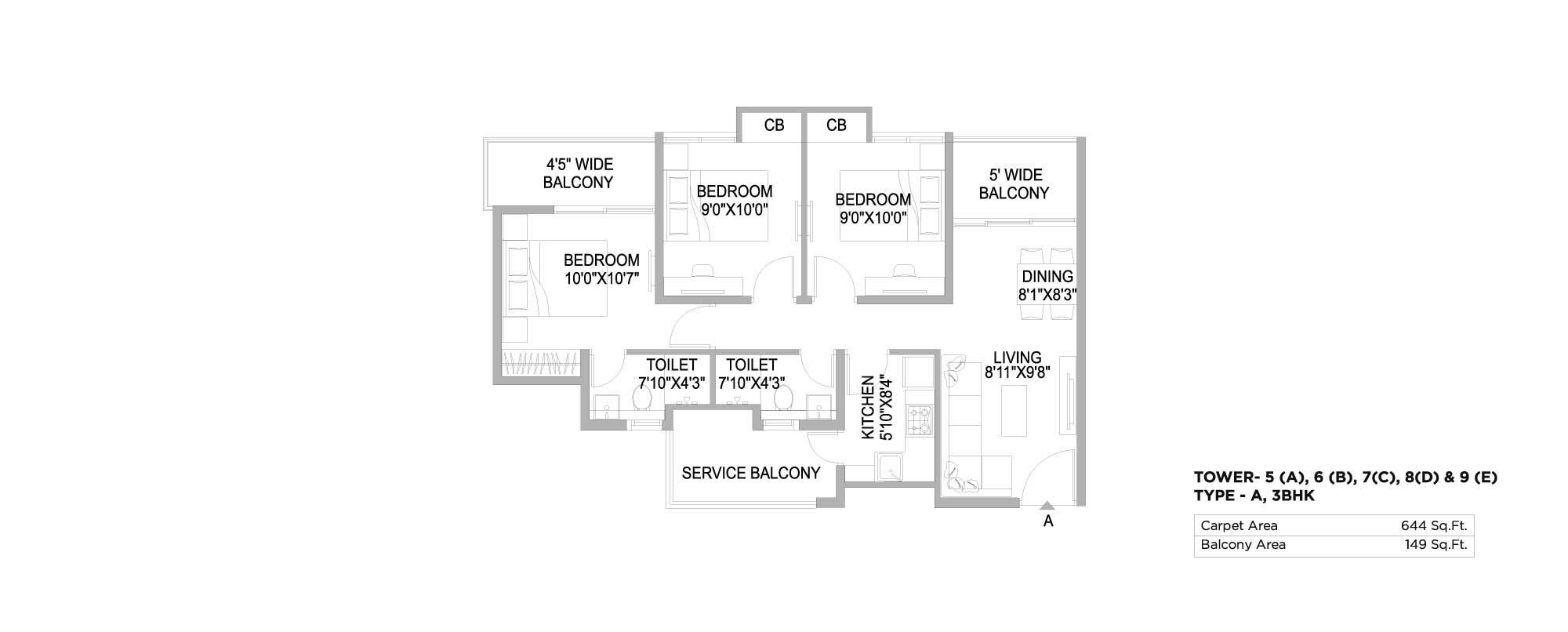 The 102 3 BHK 644 Sq. Ft.