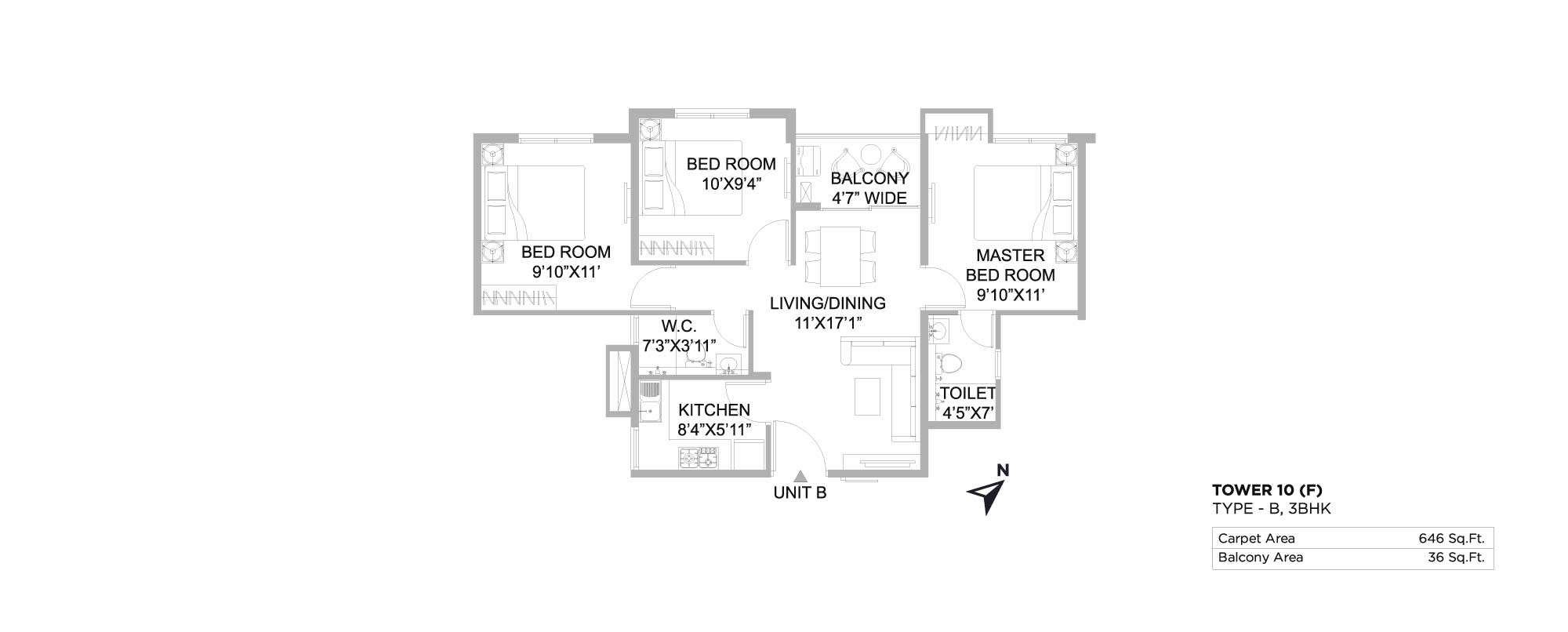 The 102 3 BHK 646 Sq. Ft.