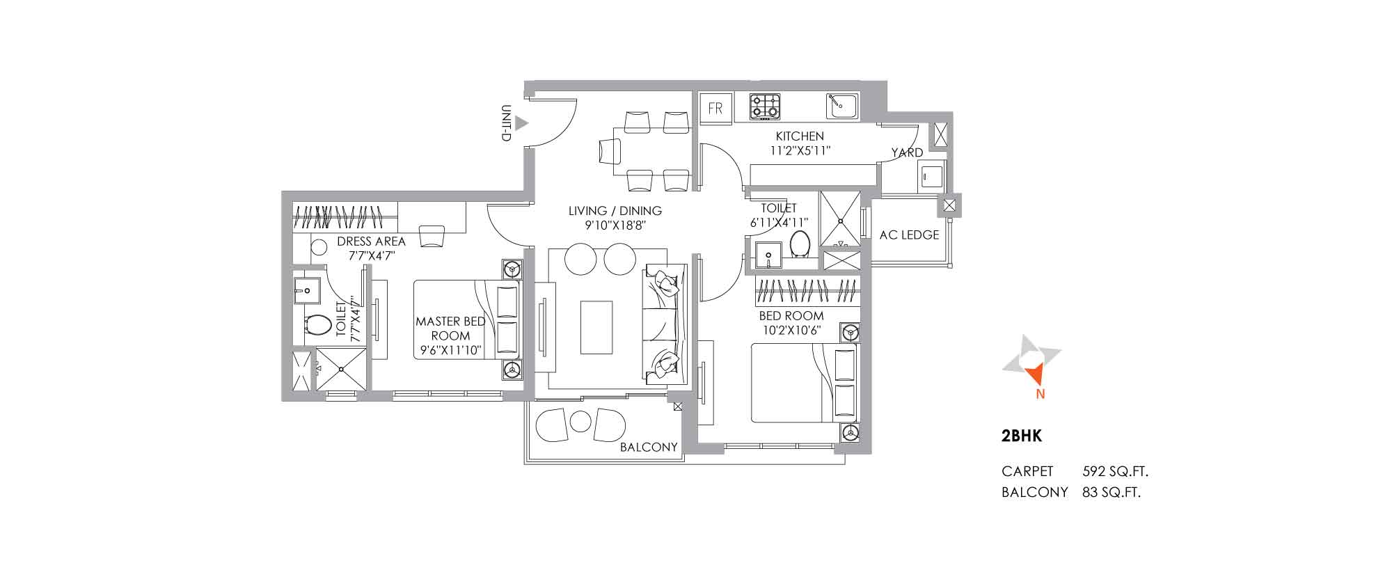 One10 2 BHK Unit Plan 592 sqft