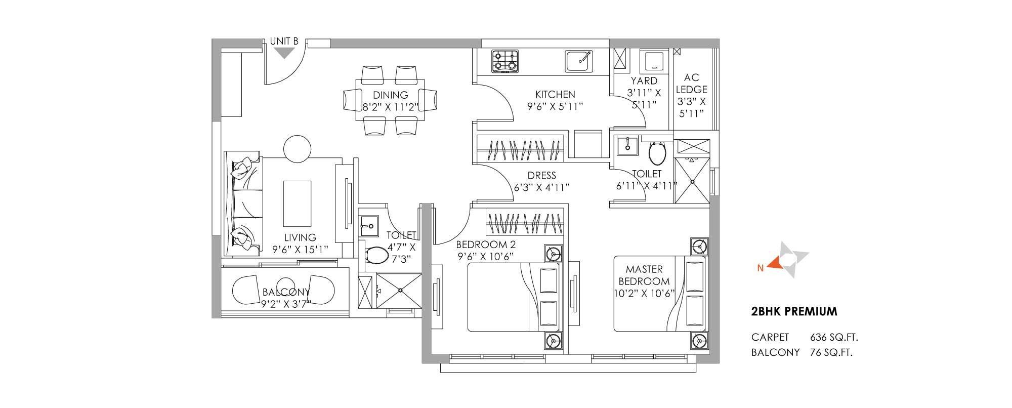 One10 2 BHK Unit Plan 636 sqft