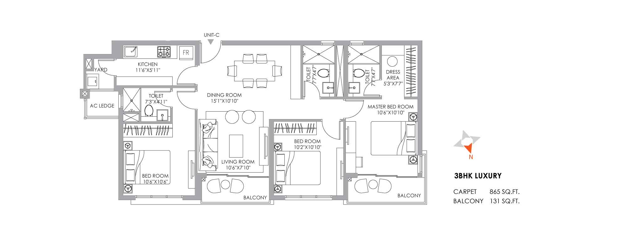 One10 Unit Plan Luxury 865 SQFT