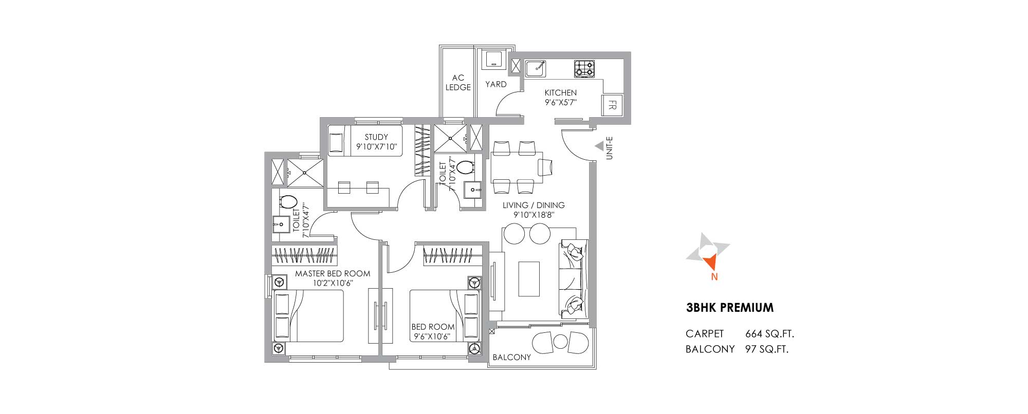 One10 Unit Plan Premium 664 SQFT