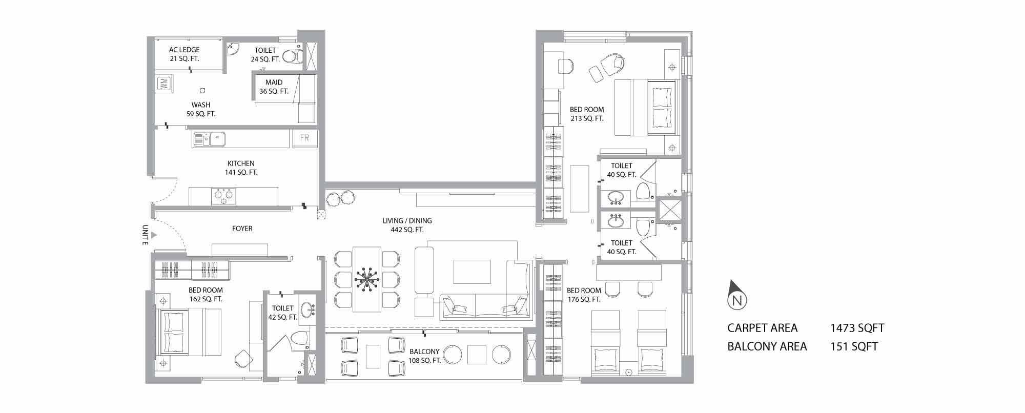 Aurus 3BHK Plan