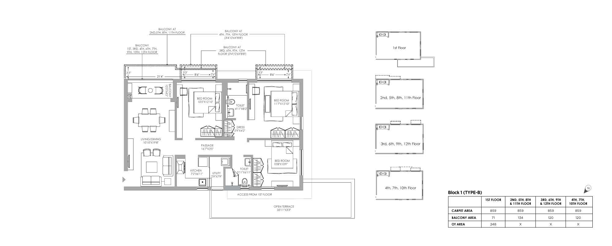 Jiva Unit Plan 3 BHK Block 1 Type B