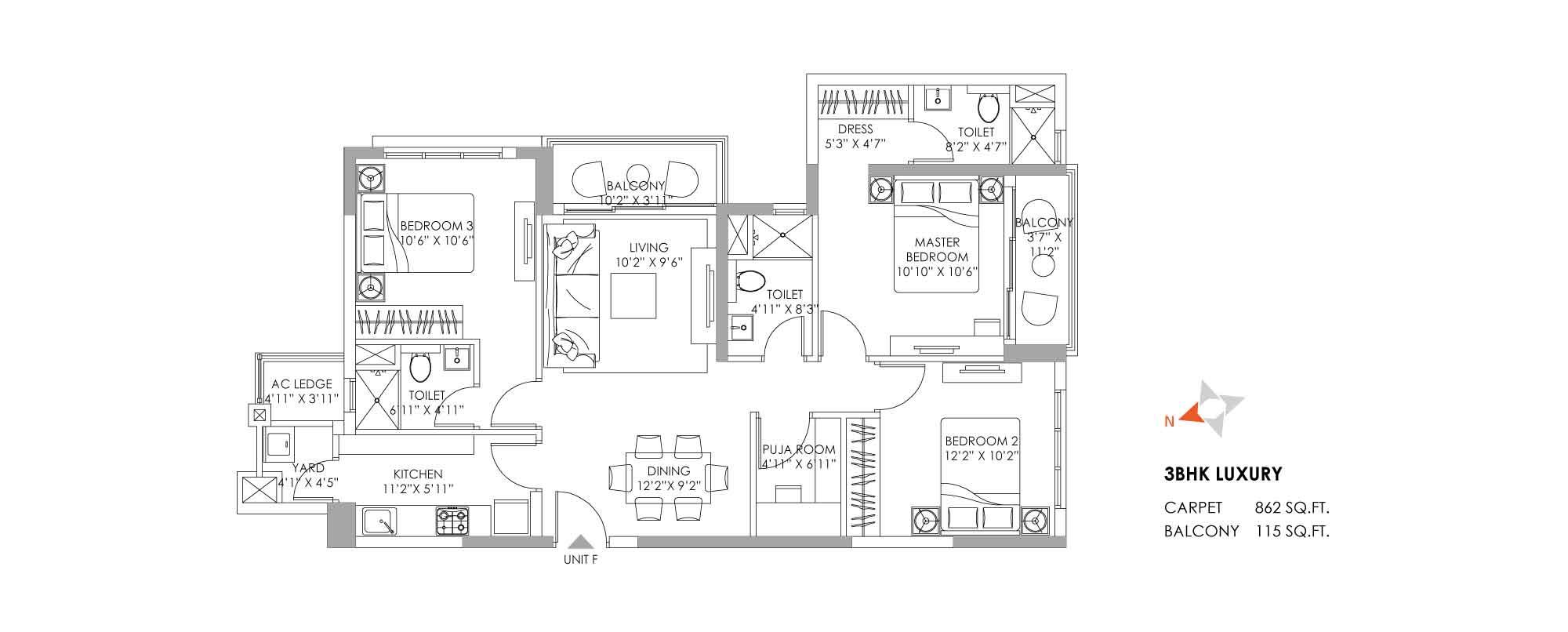 One10 Unit Plan Luxury 862 SQFT