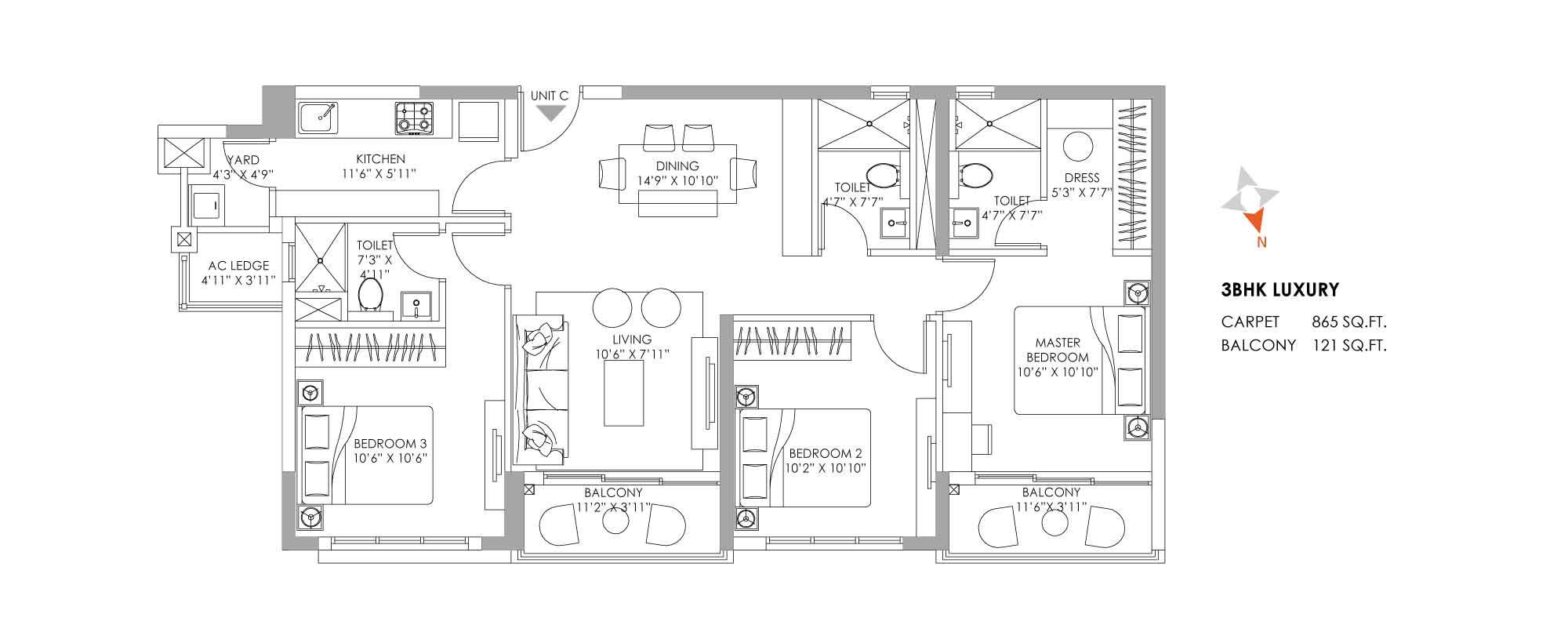 One10 Unit Plan Luxury 865 SQFT
