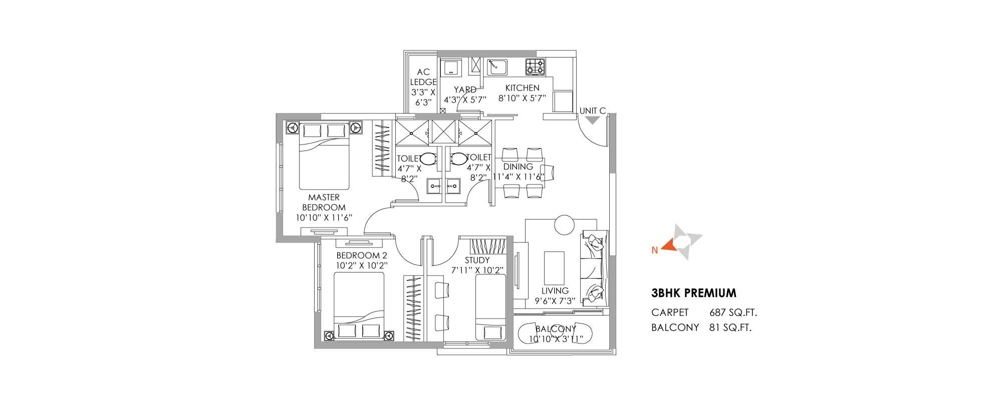 One10 Unit Plan Premium 687 SQFT
