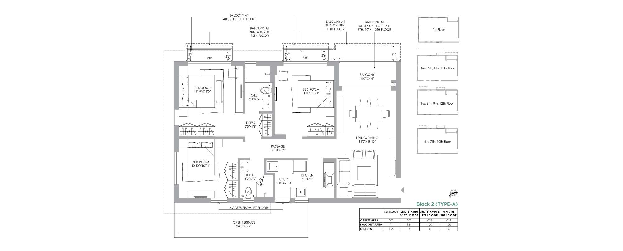 Jiva 3 BHK Unit Plan 859 sqft