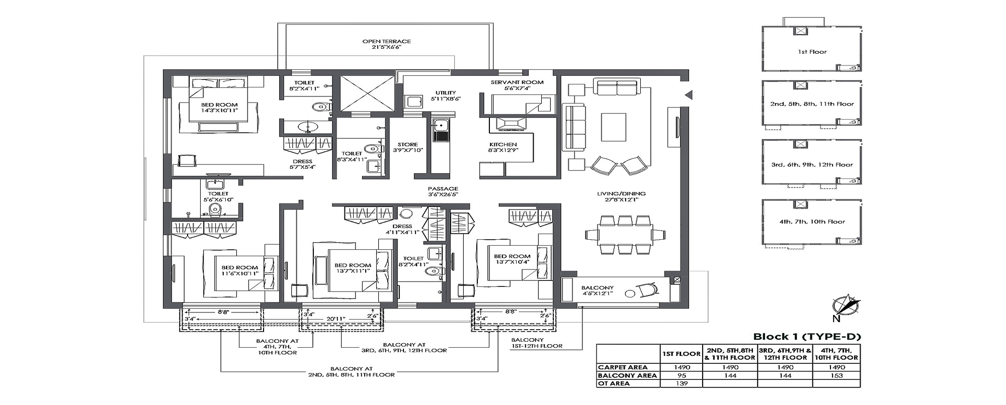 Jiva 4 BHK Unit Plan 1490 sqft