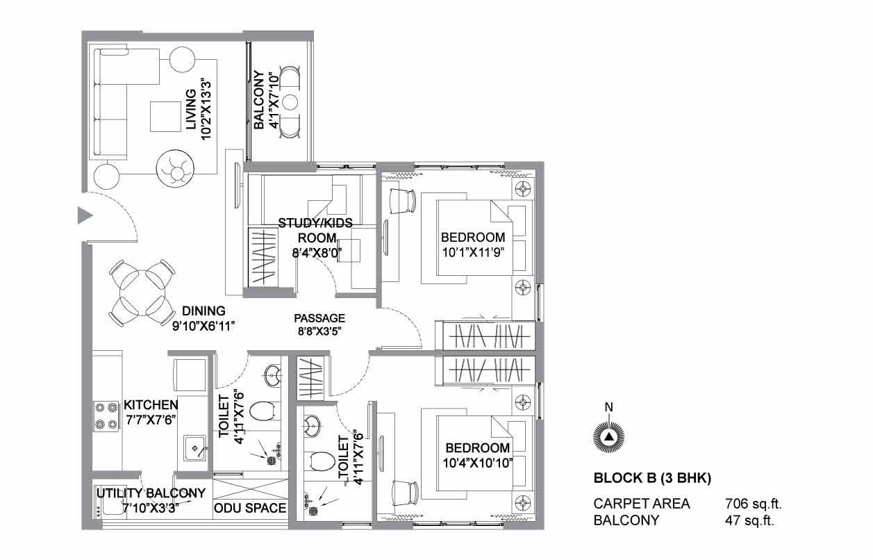 The Soul 3 BHK Plan