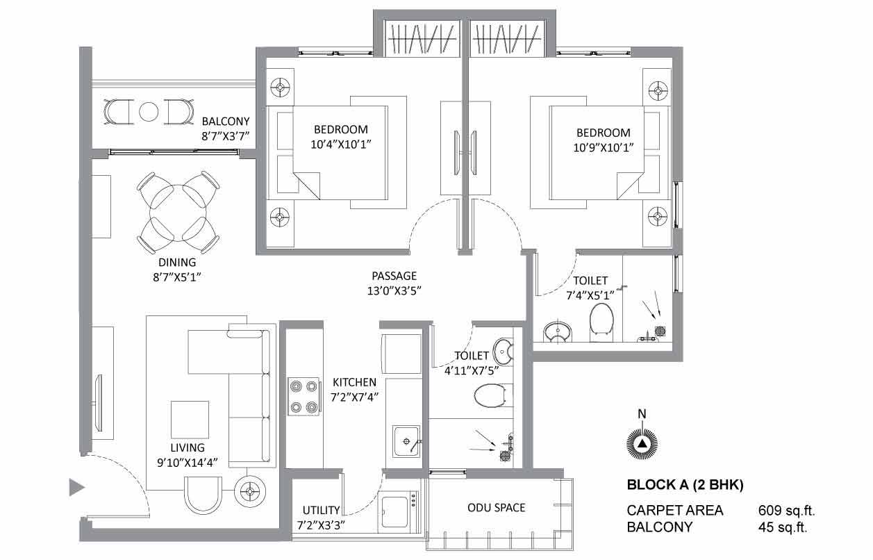 The Soul 2 BHK Plan